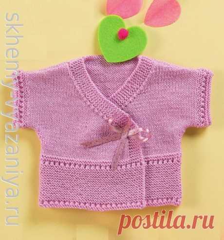 Розовая кофточка с коротким рукавом для девочки до года. Схема вязания спицами и описание.