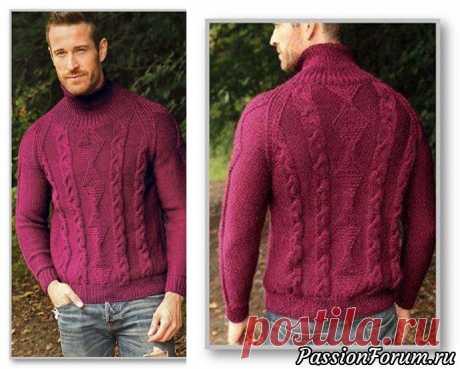 Мужской пуловер крупным рельефным узором.