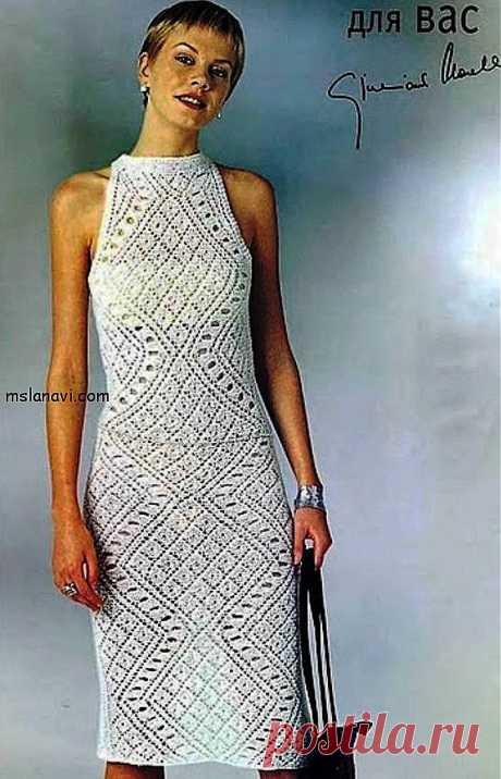 Белое ажурное платье с ромбами | Вяжем с Ланой