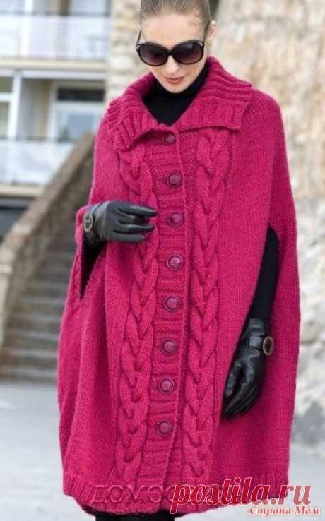 Вяжем пальто-пончо. Открываю он-лайн по вязанию пальто-пончо. Опрос был здесь https://www.stranamam.ru/  Пальто-пончо с разрезами вместо рукавов от Anne-Maija Immonen связано спицами единым полотном.