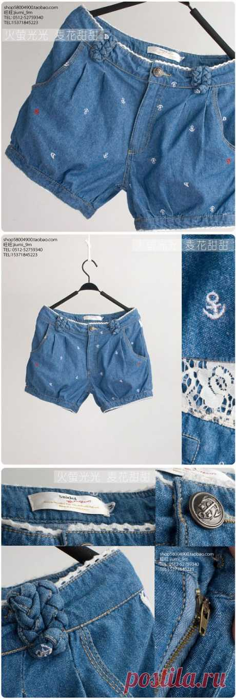 Simple embroidery on shorts \/ Embroidery \/ the Fashionable website about stylish alteration of clothes and an interior