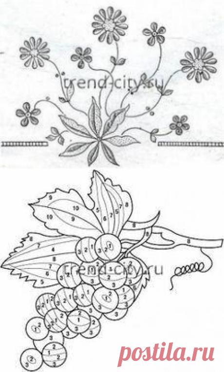 Бесплатные схемы вышивки гладью с описанием - картинки, рисунки