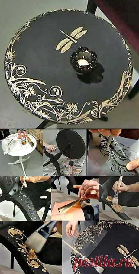 @ Декор мебели своими руками| Декор стола, используя поталь, мастер класс | МОЙ МИЛЫЙ ДОМ – идеи рукоделия, вязание, декорирование интерьеров