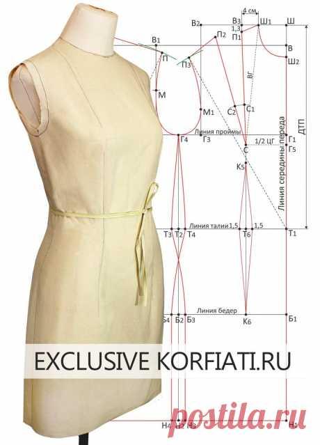 Пошаговое построение выкройки платья - очень просто и понятно! Выкройка-основа платья, построенная по вашим собственным меркам - идеальная посадка по фигуре
