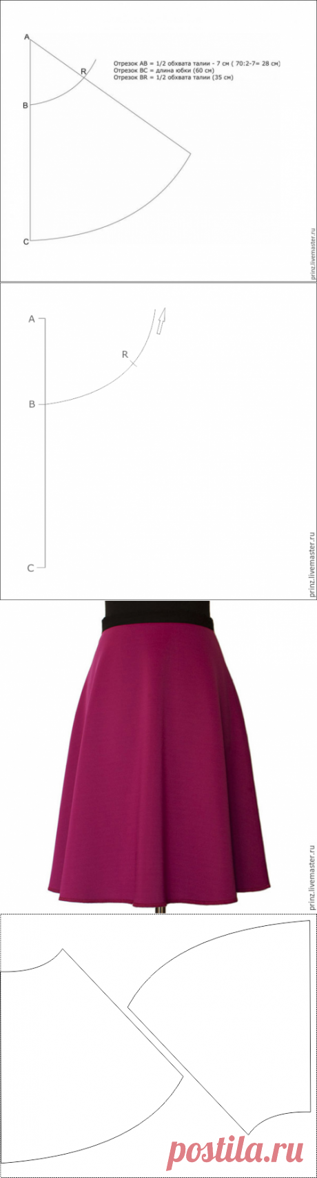 Выкройка модной юбки за 10 минут - Ярмарка Мастеров - ручная работа, handmade