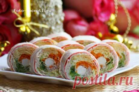 Roll from an unleavened wheat cake with crabsticks | - recipes | the Forum