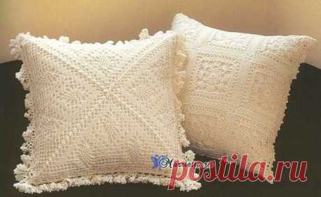 Очень нежные вязаные крючком интерьерные подушки и покрывало — Сделай сам, идеи для творчества - DIY Ideas