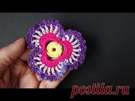 Crochet flower Volume flower 69 Lesson of Knitting by a hook