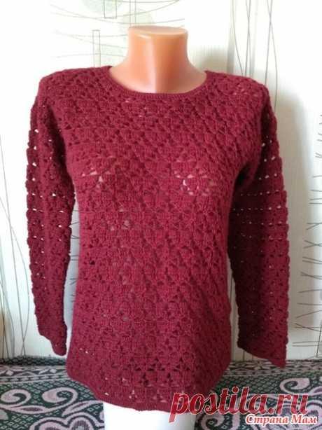 . Пуловер крючком, два вида - Вязание - Страна Мам
