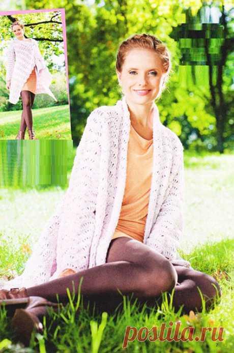 Кардиган из прямоугольника Дива крючком из меланжевой пряжи — Пошивчик одежды