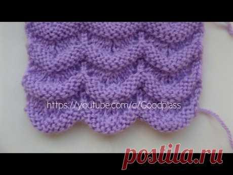 Вязание волнистого ажурного узора. Вязание спицами. Knitting (Hobby).