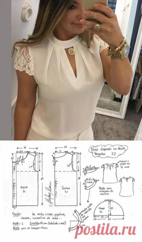 Выкройка блузы с красивым вырезом