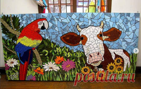 """Мозаичное панно """"Корова в подсолнухах"""""""