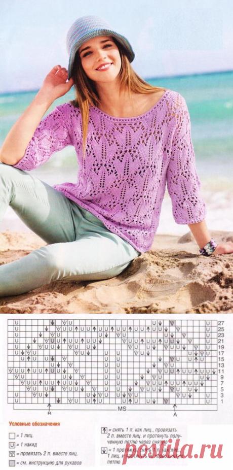 Схема узора тюльпаны для вязания спицами | Ажурные Узоры