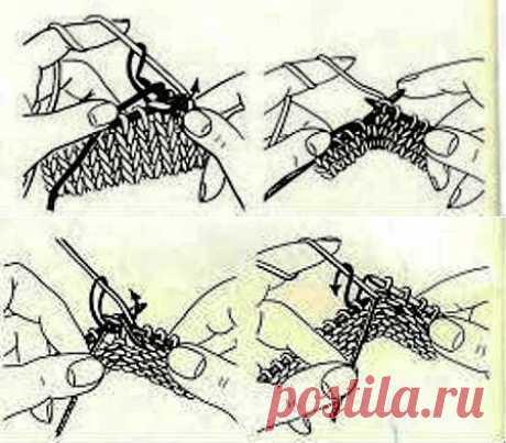 Как спрятать кончики нитей при вязании спицами из остатков пряжи.