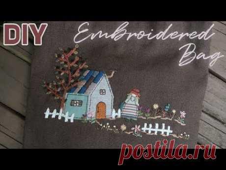 린넨 가방에 프랑스자수로 수놓기 │ Embroidered Linen Bag │ How To  Make DIY Crafts Tutorial