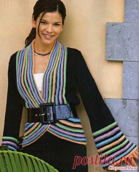 Жакет с расклешёнными рукавами и цветными полосками