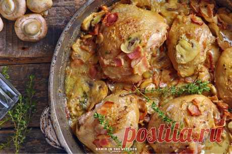 Куриные бедра с грибами, беконом и сливками - osepchukdamir