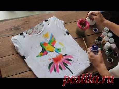 Роспись футболки акрилом: Колибри