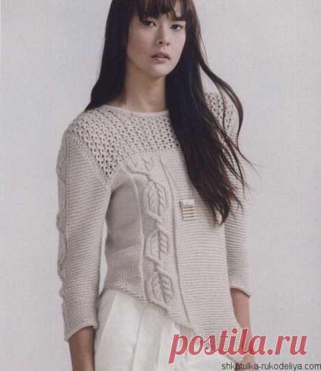 Стильный бежевый пуловер Стильный бежевый пуловер спицами. Вязаные свитера женские спицами с описанием