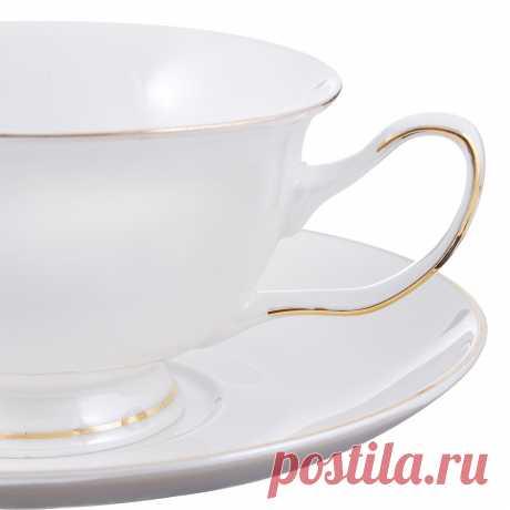 Чайный сервиз 12 предметов MILLIMI Перламутр 220мл, костяной фарфор в магазинах Галамарт