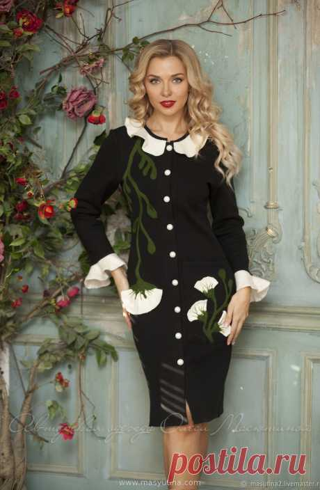 """Платье """"Botanika"""" Вязаное теплое платье с цветочным декором, выполненным в техниках сухого и мокрого валяния, 100% ручная работа!Цвет платья можно изменить на ваш вкус, актуальные цве�"""
