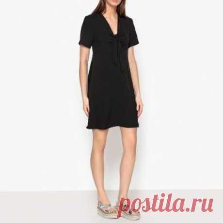 Платье однотонное с v-образным вырезом и бантиком petular черный La Brand Boutique Collection