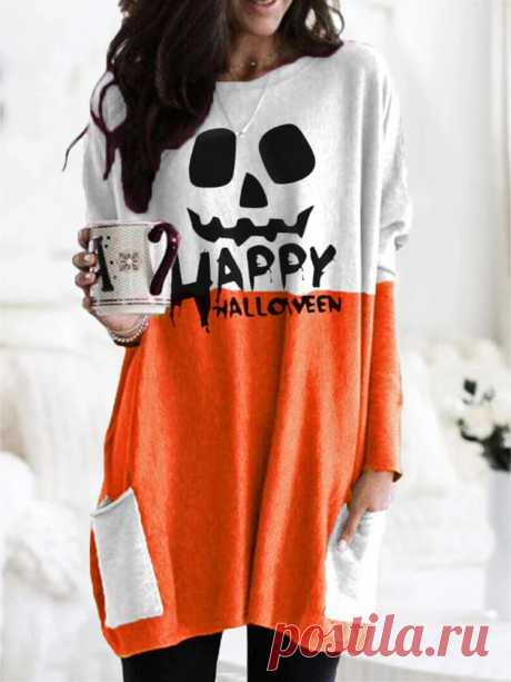 Women Halloween Patchwork Letter Printed Casual Mid-Length Sweatshirts With Pock - US$16.99
