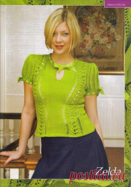 """Ажурный зеленый пуловер с рукавом """"фонарик""""."""