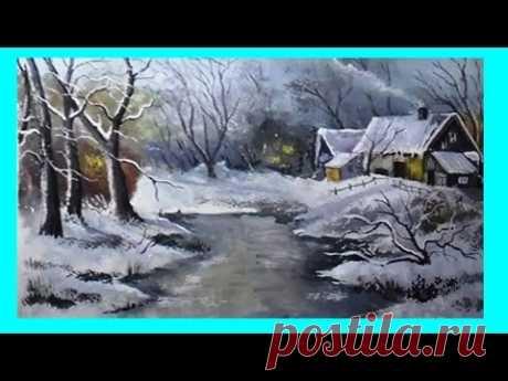 Как нарисовать весну/ Painting of a winter landscape step by step in gouache