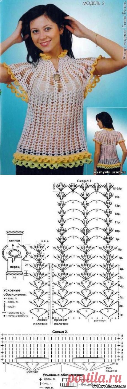 Сексуальная ажурная кофточка с рюшами - Схемы вязания спицами - ВЯЗАНИЕ СПИЦАМИ, КРЮЧКОМ - Бесплатные схемы вышивки крестиком