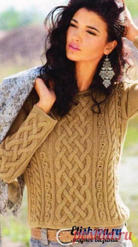 "Пуловер с аранами ""Горчица"" вязаный спицами | Блог elisheva.ru"