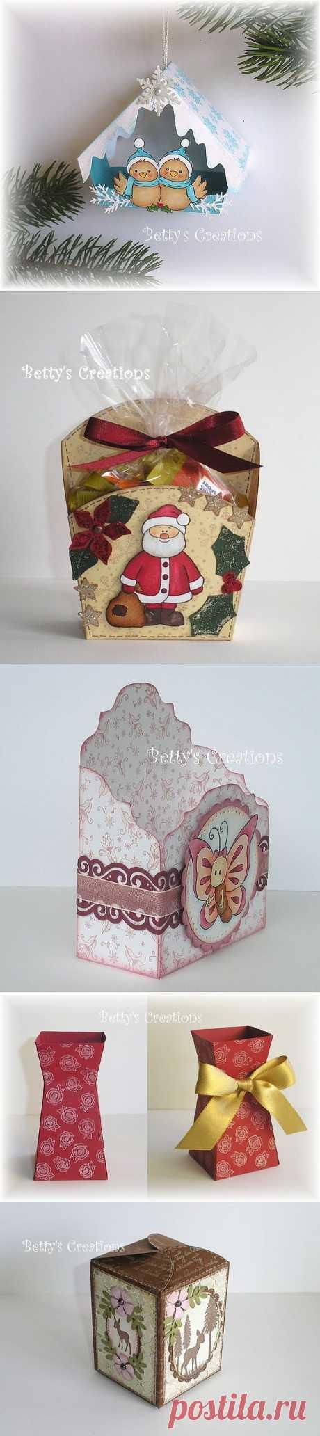 Коробочки, корзинки и новогодние игрушки из картона. Шаблоны.