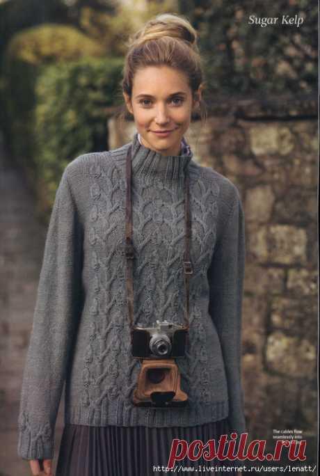 Спицы.Серый пуловер