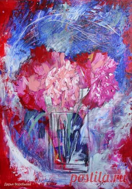 Я рисую цветы... ♥ «Ночные пионы» #Дарья_Воробьева