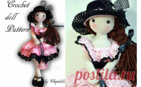Вязаная кукла в черной шляпке. Схема Вязаная крючком кукла в черной шляпке. Схема