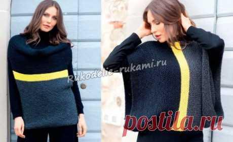 Женский пуловер-трансформер спицами