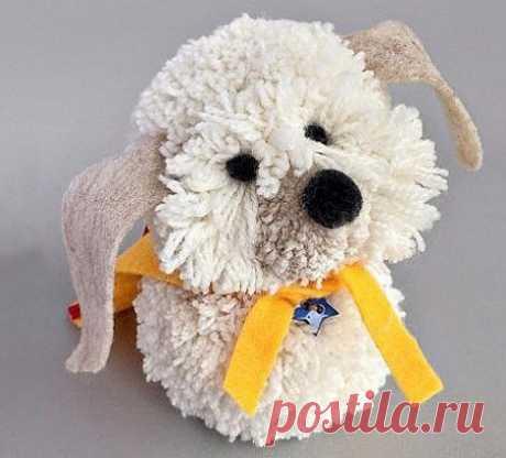 Забавная собачка из помпонов — Сделай сам, идеи для творчества - DIY Ideas
