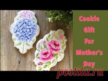 Watercolor Cookies. Painted Cookie Gift for Mother's Day.