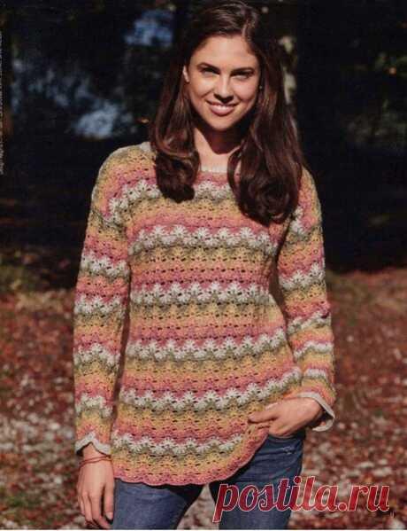 Узор крючком для пуловера | Вязание крючком с Ириной Булановой | Яндекс Дзен