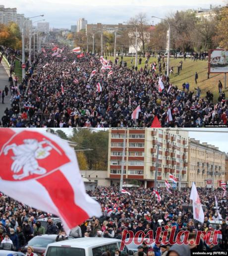 20.10.20-(+5) На улицы Минска вновь вышли десятки тысяч протестующих против Лукашенко