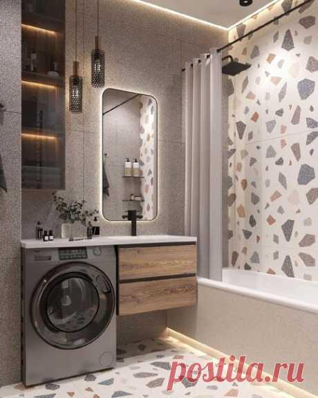 Ванная комната! Есть все и приятно находится. Отличное решение с освещением и выбором плитки.