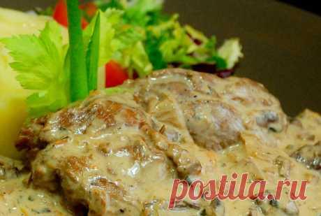 Veal stewed with mushrooms