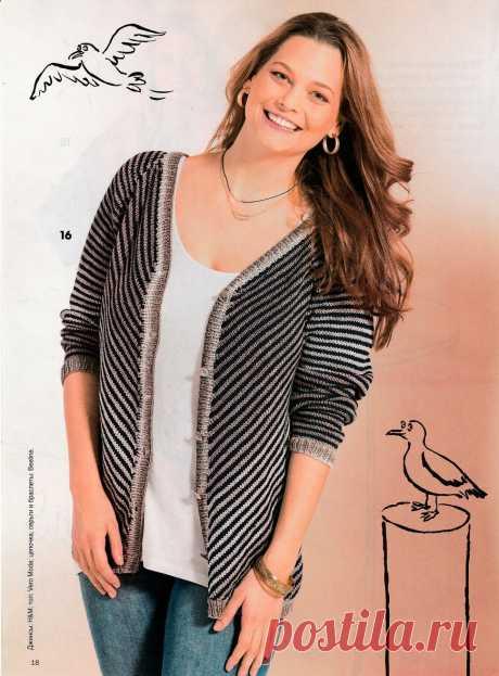 Мода plus. Жакет-реглан с диагональными полосками спицами