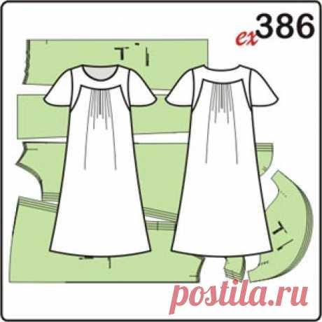 Выкройка платья для полных женщин с кокетками - Porrivan Выкройка платья для полных женщин с кокетками и складками на переде и спинке. Платье можно носить как отдельно, так и в комплекте с брюками.
