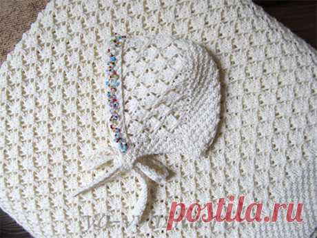 Плед и шапочка для новорожденного спицами | Вязальное настроение...