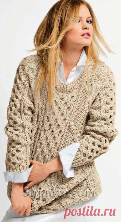 Вязаный свитер с ирландскими узорами.