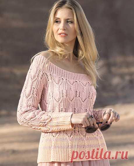 Джемпер с большим вырезом горловины - схема вязания спицами. Вяжем Джемперы на Verena.ru