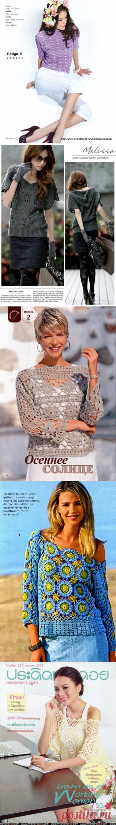Пуловеры крючком. Подборка 99