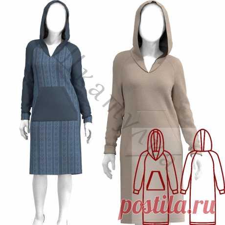 Выкройка трикотажного платья с капюшоном WD310120   Шкатулка